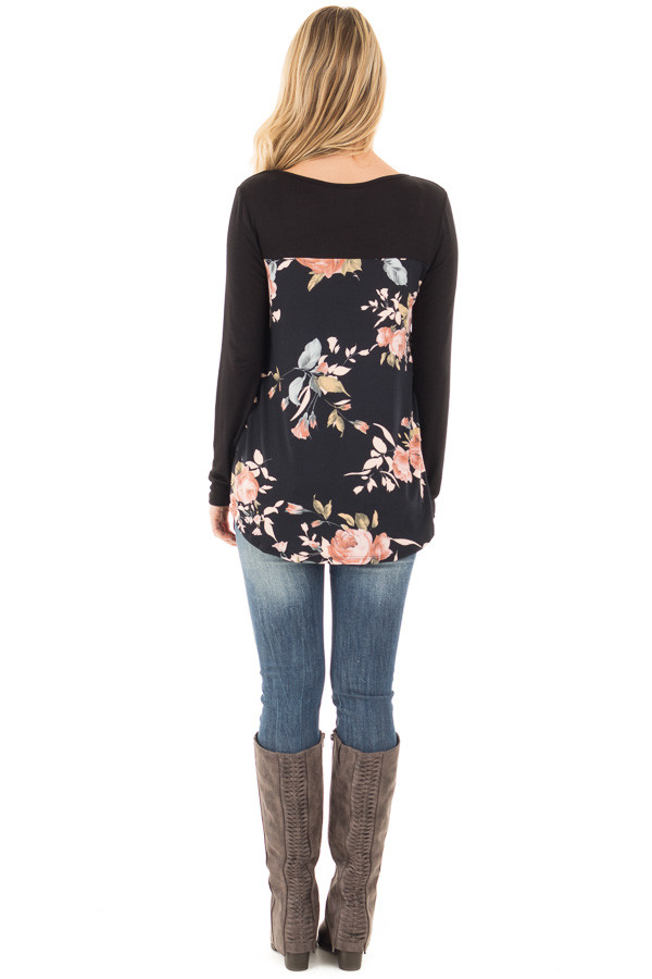 Black Long Sleeve Criss Cross Neckline Top with Floral Back back full body