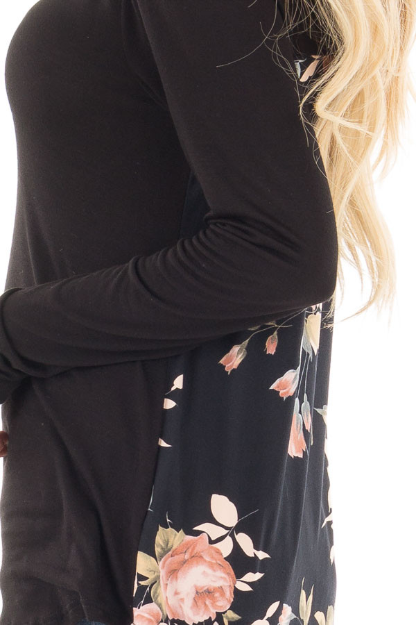 Black Long Sleeve Criss Cross Neckline Top with Floral Back detail