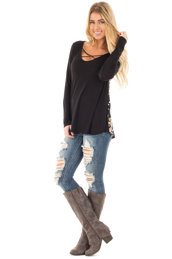 Black Long Sleeve Criss Cross Neckline Top with Floral Back front full body
