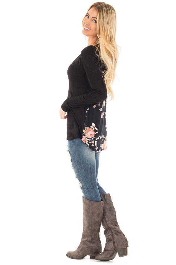Black Long Sleeve Criss Cross Neckline Top with Floral Back side full body