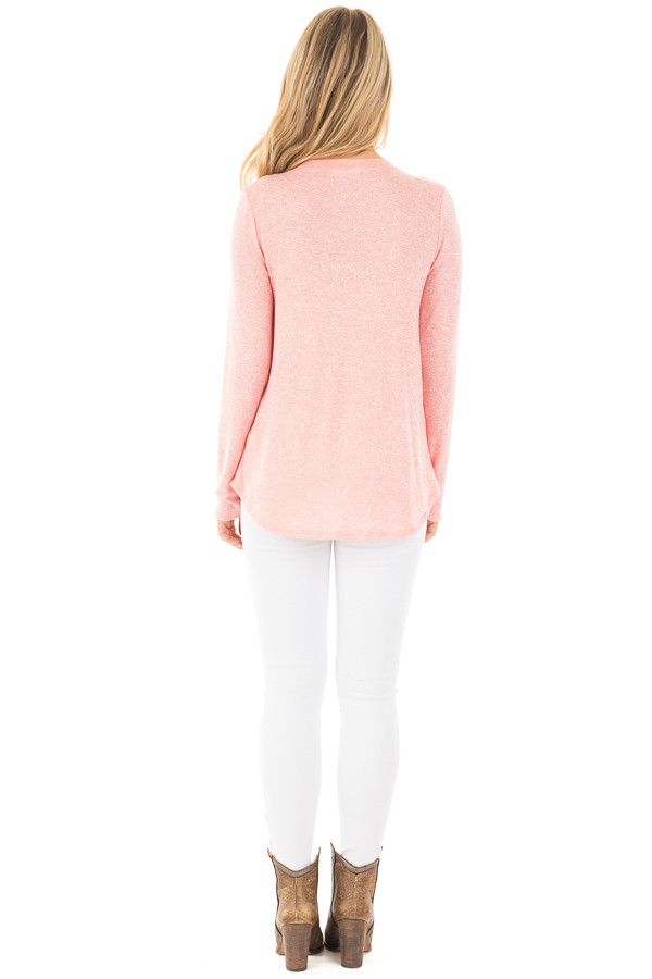 Coral Long Sleeve with Gold Glitter 'LOVE' Print Top back full body