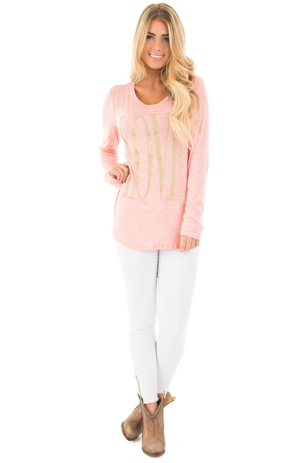 Coral Long Sleeve with Gold Glitter 'LOVE' Print Top front full body