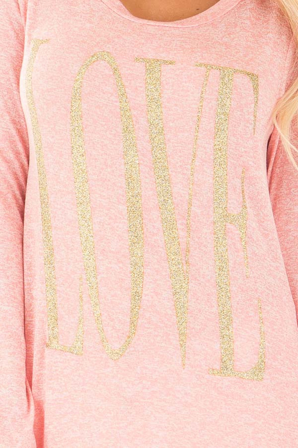Coral Long Sleeve with Gold Glitter 'LOVE' Print Top detail