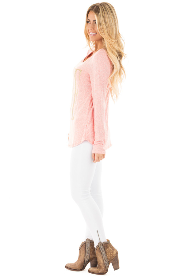 Coral Long Sleeve with Gold Glitter 'LOVE' Print Top side full body