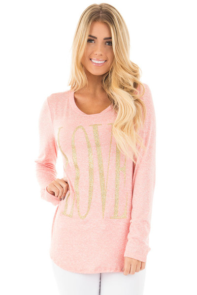 Coral Long Sleeve with Gold Glitter 'LOVE' Print Top front close up