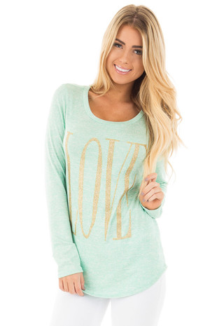 Mint Long Sleeve with Gold Glitter 'LOVE' Print Top front close up