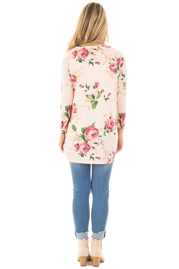 Blush Floral Print 3/4 Sleeve Top with Twist Detail in Front back full body