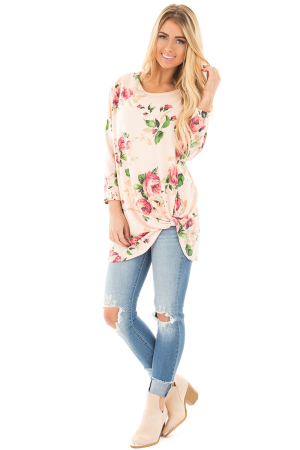 Blush Floral Print 3/4 Sleeve Top with Twist Detail in Front front full body