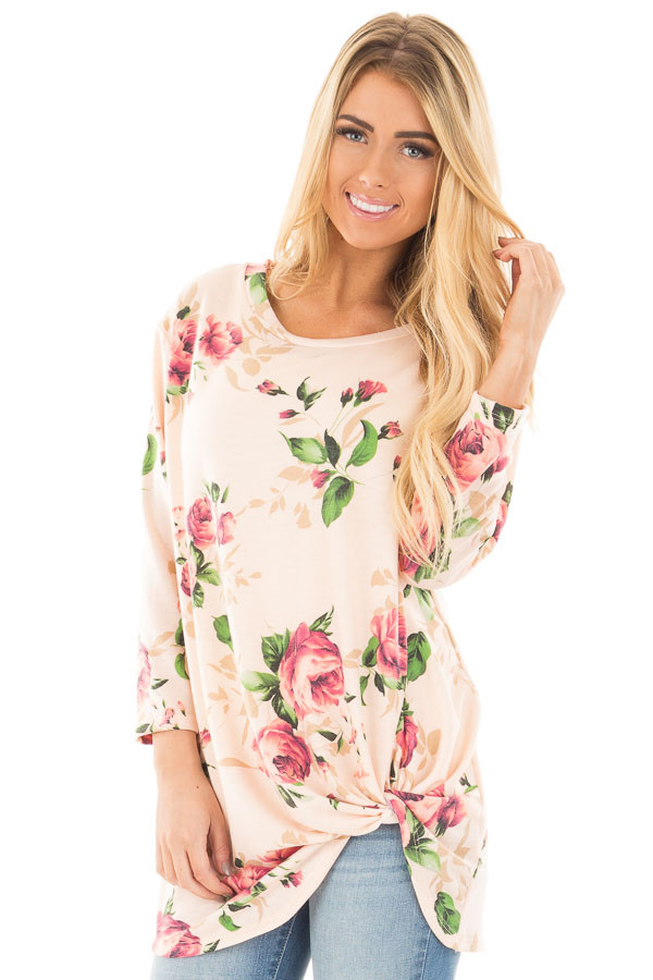 Blush Floral Print 3/4 Sleeve Top with Twist Detail in Front front close up