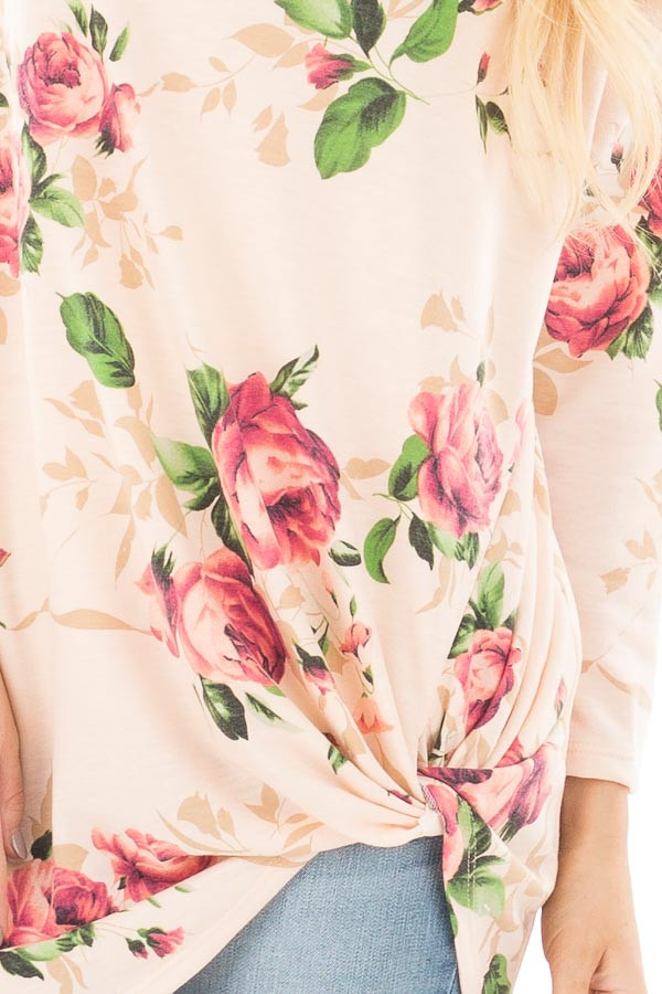 Blush Floral Print 3/4 Sleeve Top with Twist Detail in Front detail