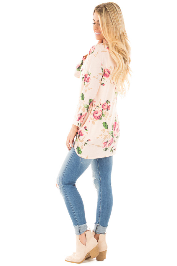 Blush Floral Print 3/4 Sleeve Top with Twist Detail in Front side full body