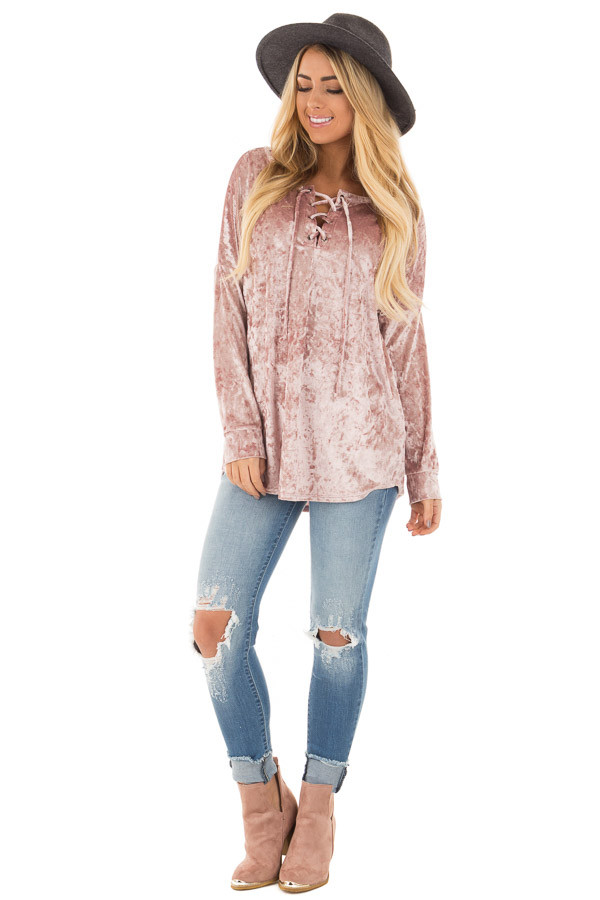 Dusty Rose Crushed Velvet Top with Big Eyelet Criss Cross Detail front full body