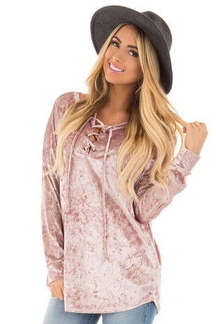 Dusty Rose Crushed Velvet Top with Big Eyelet Criss Cross Detail front close up