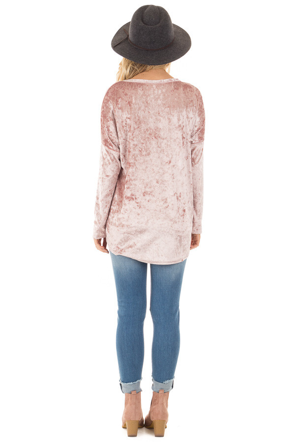Dusty Rose Crushed Velvet Top with Big Eyelet Criss Cross Detail back full body