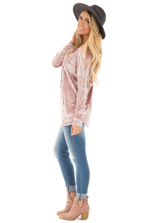 Dusty Rose Crushed Velvet Top with Big Eyelet Criss Cross Detail side full body