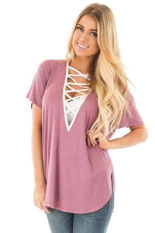 Dusty Plum Tee with Ivory Lace Up Neckline front close up