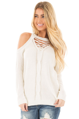 Off White Cold Shoulder Lace Up Detail Knit Sweater Top front close up