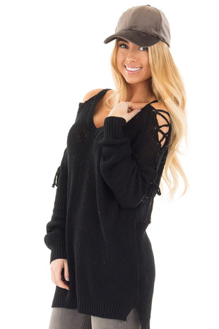Black Hi-Low Open Shoulder with Lace up Detail Sweater front close up