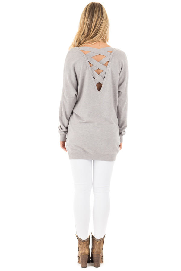 Heather Grey Soft Knit Sweater with Criss Cross Band Back back full body