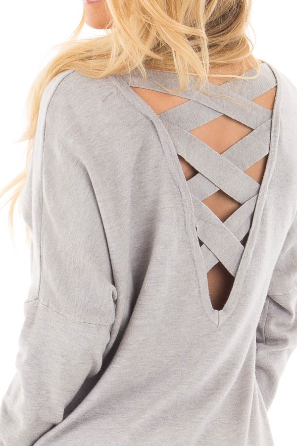 Heather Grey Soft Knit Sweater with Criss Cross Band Back detail