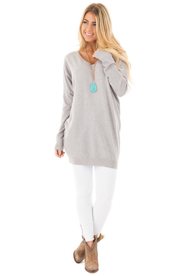 Heather Grey Soft Knit Sweater with Criss Cross Band Back front full body