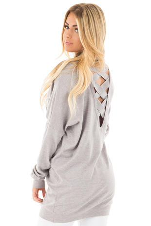 Heather Grey Soft Knit Sweater with Criss Cross Band Back back side close up