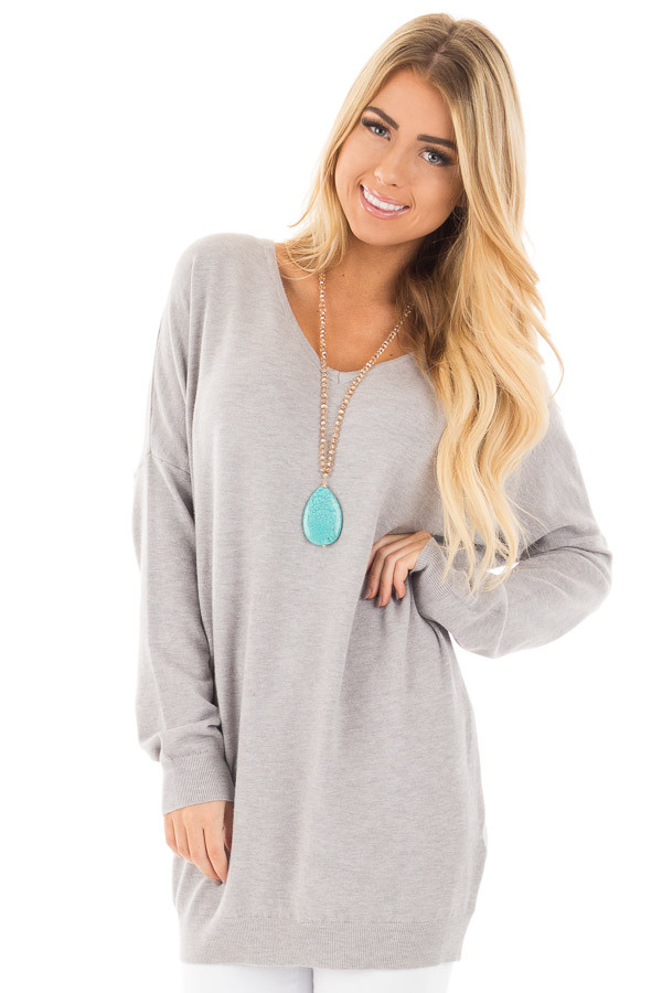 Heather Grey Soft Knit Sweater with Criss Cross Band Back front close up