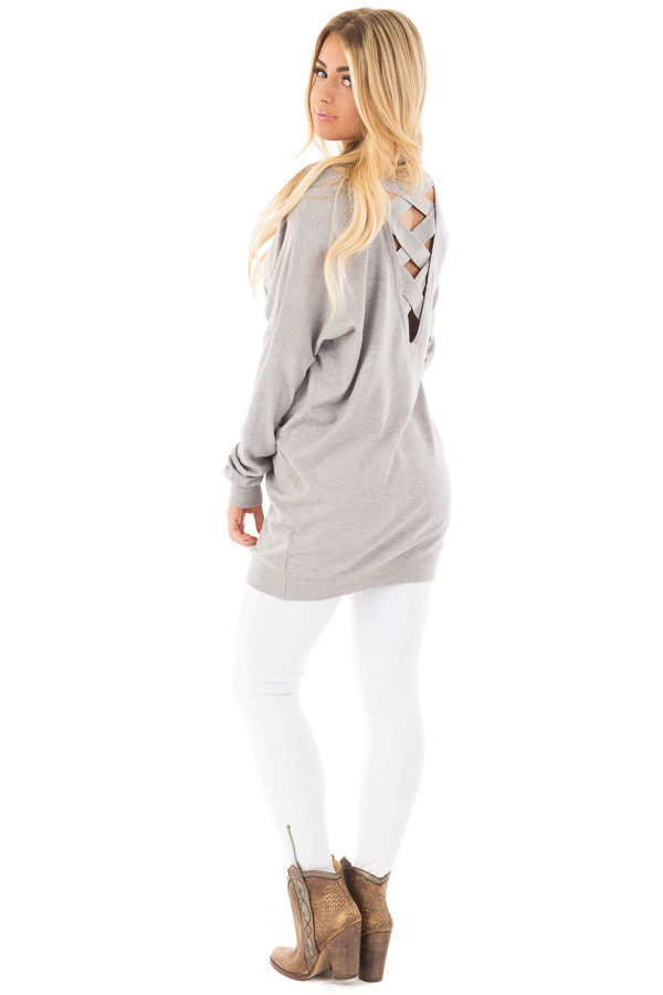 Heather Grey Soft Knit Sweater with Criss Cross Band Back back side full body