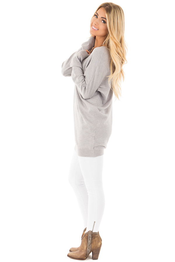 Heather Grey Soft Knit Sweater with Criss Cross Band Back side full body