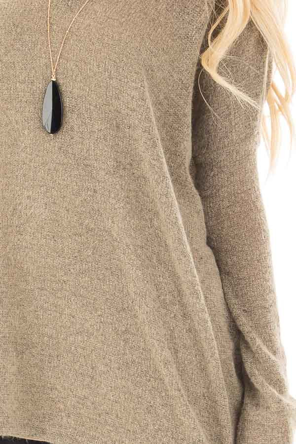 Khaki V Neck Oversized Sweater Top detail