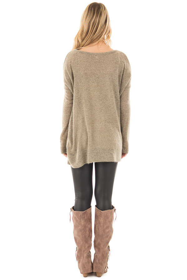 Khaki V Neck Oversized Sweater Top back full body