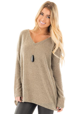 Khaki V Neck Oversized Sweater Top front close up