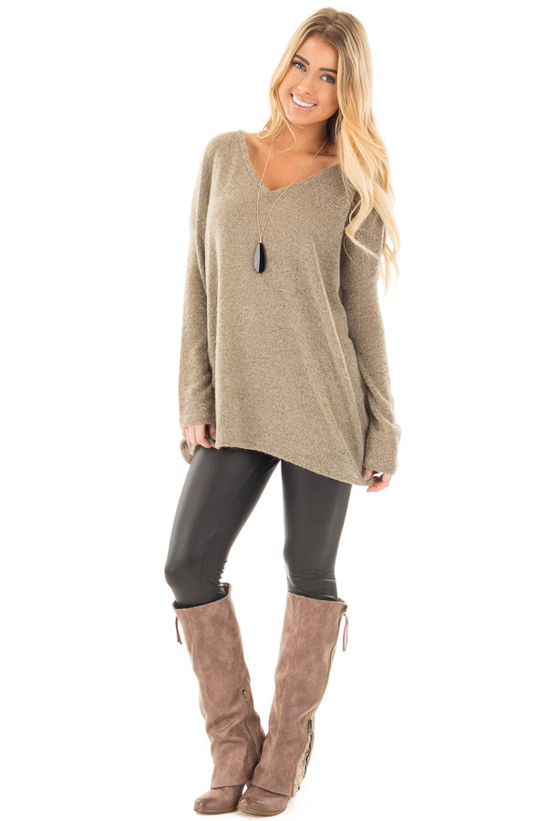 Khaki V Neck Oversized Sweater Top front full body