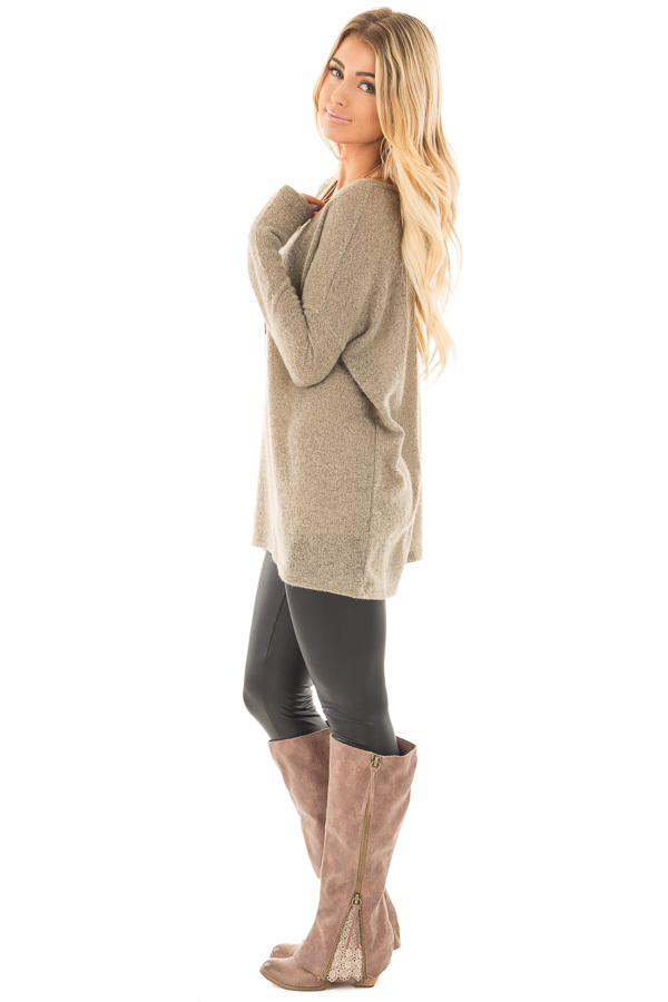 Khaki V Neck Oversized Sweater Top side full body