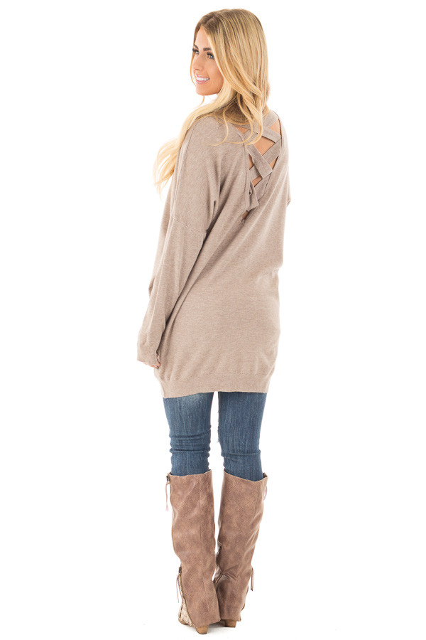 Mocha Soft Knit Sweater with Criss Cross Band Back back side full body