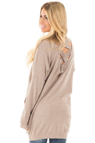 Mocha Soft Knit Sweater with Criss Cross Band Back back side close up