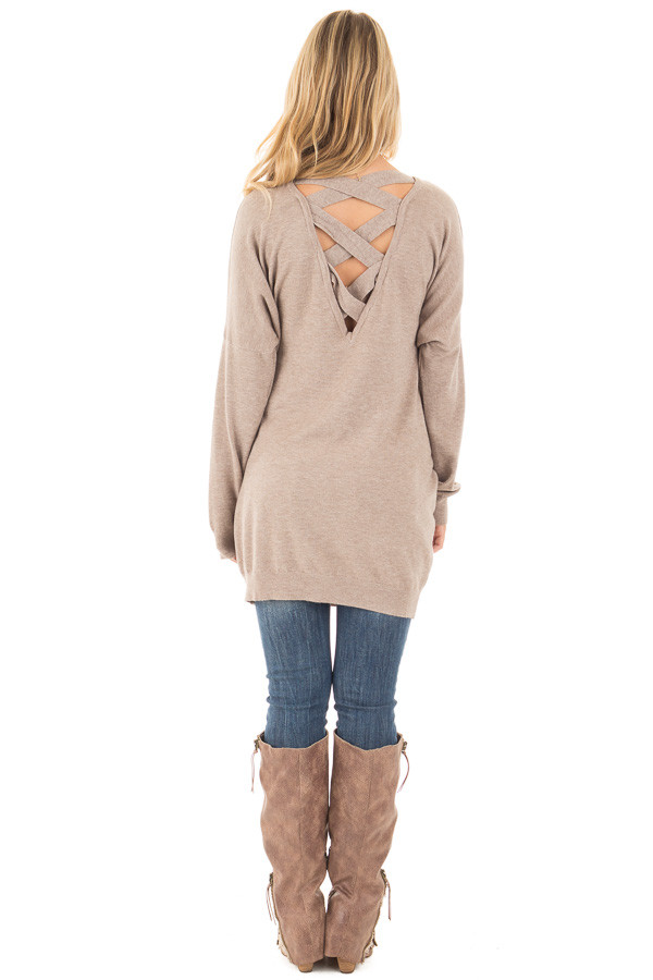 Mocha Soft Knit Sweater with Criss Cross Band Back back full body
