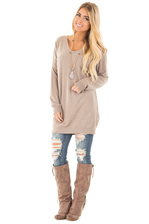 Mocha Soft Knit Sweater with Criss Cross Band Back front full body