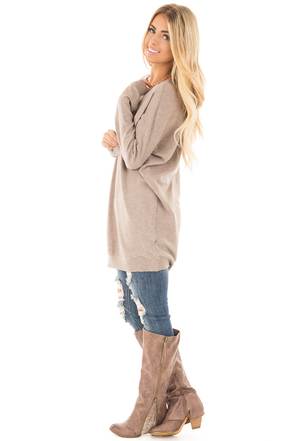 Mocha Soft Knit Sweater with Criss Cross Band Back side full body