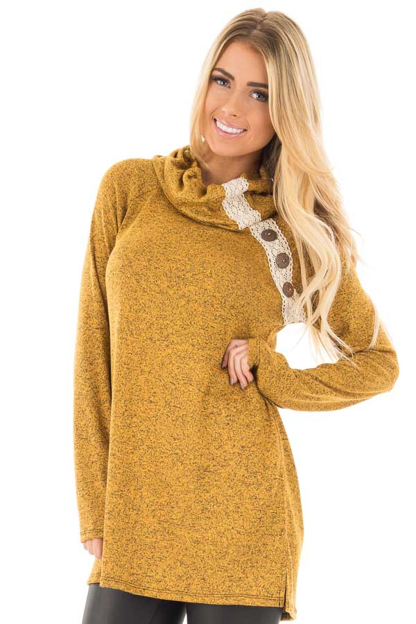 Mustard Two Tone Turtleneck Top with Crochet and Button Detail front close up