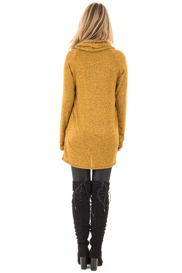 Mustard Two Tone Turtleneck Top with Crochet and Button Detail back full body