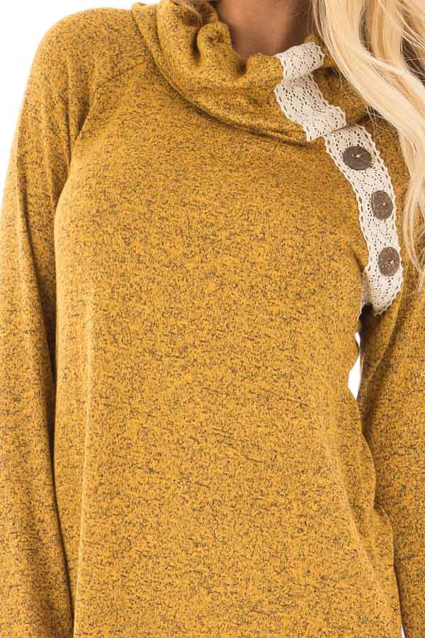 Mustard Two Tone Turtleneck Top with Crochet and Button Detail detail