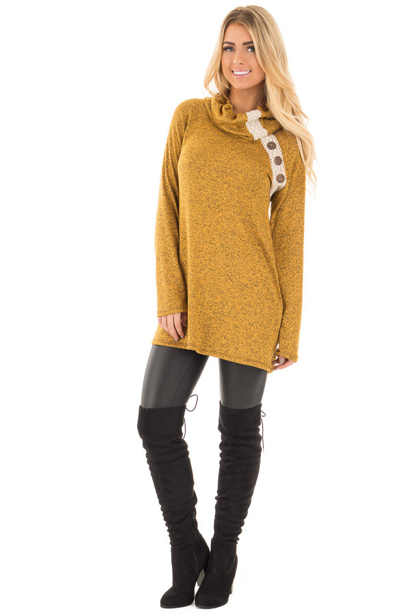 Mustard Two Tone Turtleneck Top with Crochet and Button Detail front full body