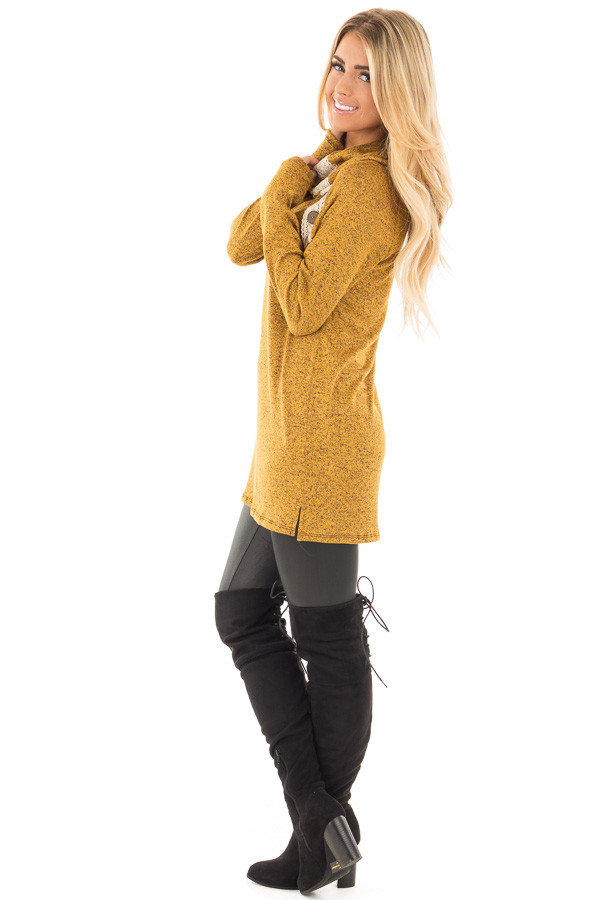 Mustard Two Tone Turtleneck Top with Crochet and Button Detail side full body