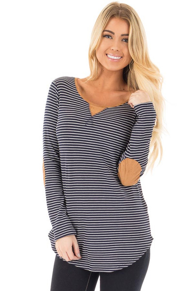 Navy Thermal Stripe Top with Suede Elbow Patches and Neck Detail front close up