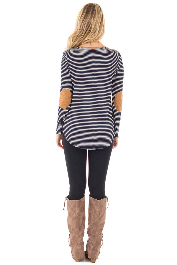 Navy Thermal Stripe Top with Suede Elbow Patches and Neck Detail back full body