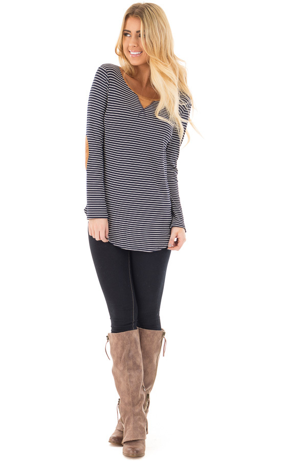 Navy Thermal Stripe Top with Suede Elbow Patches and Neck Detail front full body