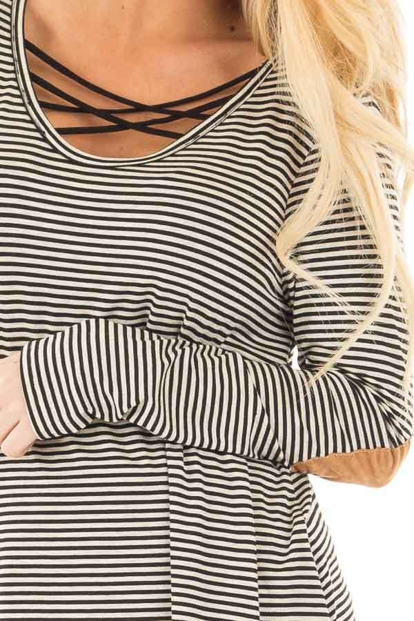 Black Criss Cross Detail Front and Suede Elbow Patch Top detail