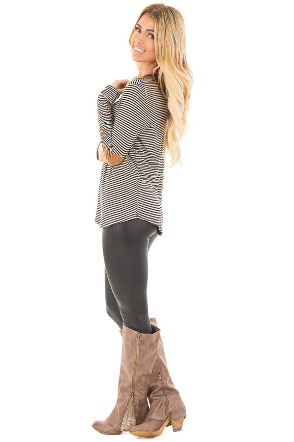 Black Criss Cross Detail Front and Suede Elbow Patch Top side full body