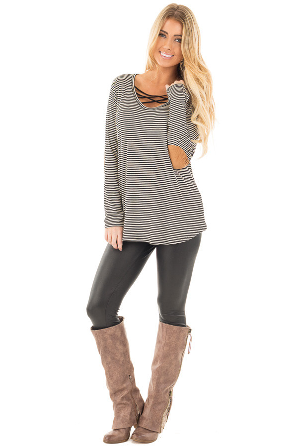 Black Criss Cross Detail Front and Suede Elbow Patch Top front full body